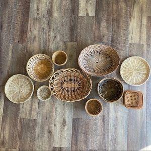 Boho Hippie wicker woven basket wall art set of 10